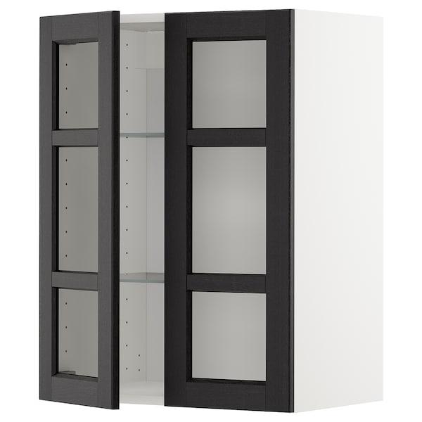 METOD メトード ウォールキャビネット 棚板/ガラス扉2枚付き, ホワイト/レルヒッタン ブラックステイン, 60x37x80 cm