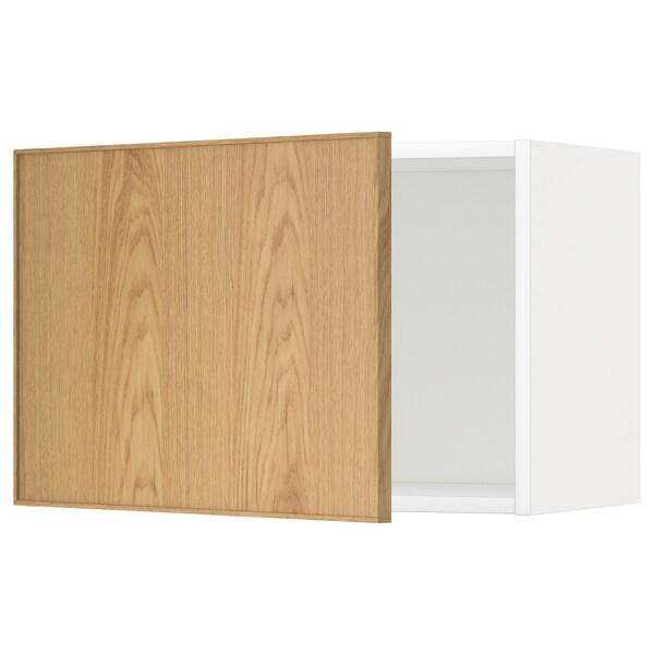 METOD メトード ウォールキャビネット, ホワイト/エーケスタード オーク, 60x37x40 cm