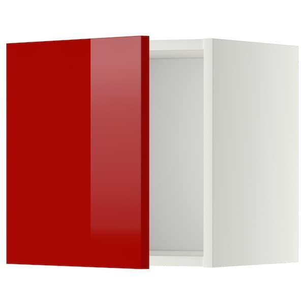 METOD メトード ウォールキャビネット, ホワイト/リンガフルト レッド, 40x37x40 cm
