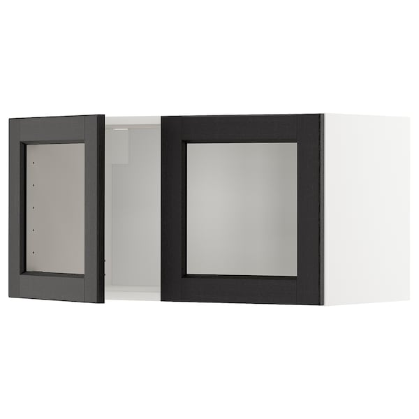 METOD メトード ウォールキャビネット ガラス扉2枚付, ホワイト/レルヒッタン ブラックステイン, 80x37x40 cm