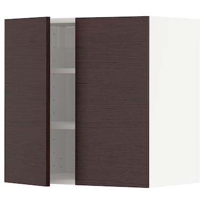 METOD メトード ウォールキャビネット 棚板/扉2枚付き, ホワイト アスケルスンド/ダークブラウン アッシュ調, 60x37x60 cm