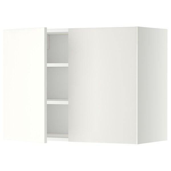METOD メトード ウォールキャビネット 棚板/扉2枚付き, ホワイト/ヘッゲビー ホワイト, 80x37x60 cm