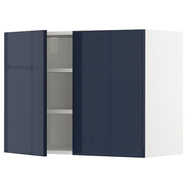 METOD メトード ウォールキャビネット 棚板/扉2枚付き, ホワイト/イェールスタ ブラックブルー, 80x37x60 cm