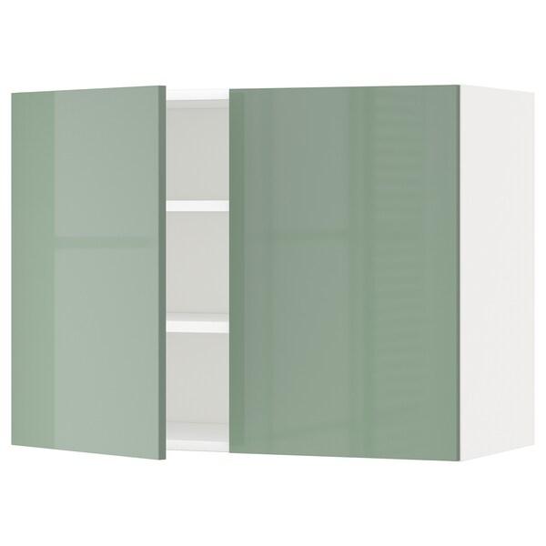 METOD メトード ウォールキャビネット 棚板/扉2枚付き, ホワイト/カッラルプ ライトグリーン, 80x37x60 cm