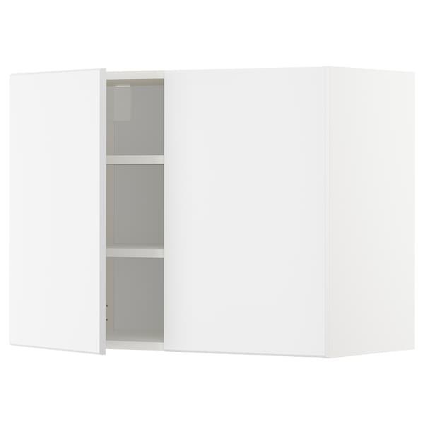 METOD メトード ウォールキャビネット 棚板/扉2枚付き, ホワイト/クングスバッカ マットホワイト, 80x37x60 cm