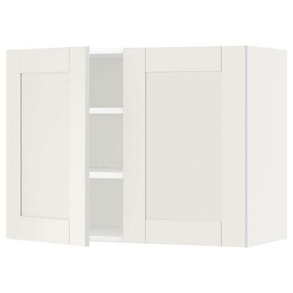 METOD メトード ウォールキャビネット 棚板/扉2枚付き, ホワイト/セーヴェダール ホワイト, 80x37x60 cm