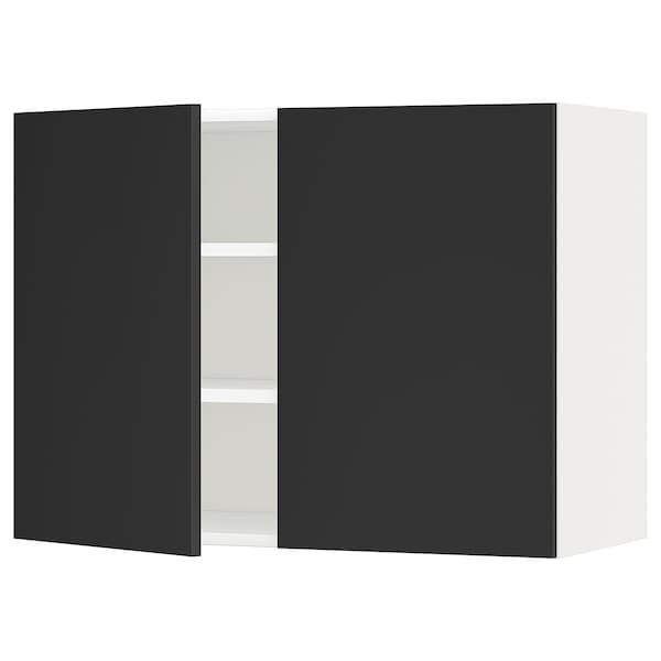 METOD メトード ウォールキャビネット 棚板/扉2枚付き, ホワイト/ウッデヴァラ チャコール, 80x37x60 cm