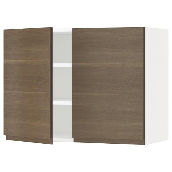 METOD メトード ウォールキャビネット 棚板/扉2枚付き, ホワイト/ヴォックストルプ ウォールナット調, 80x37x60 cm