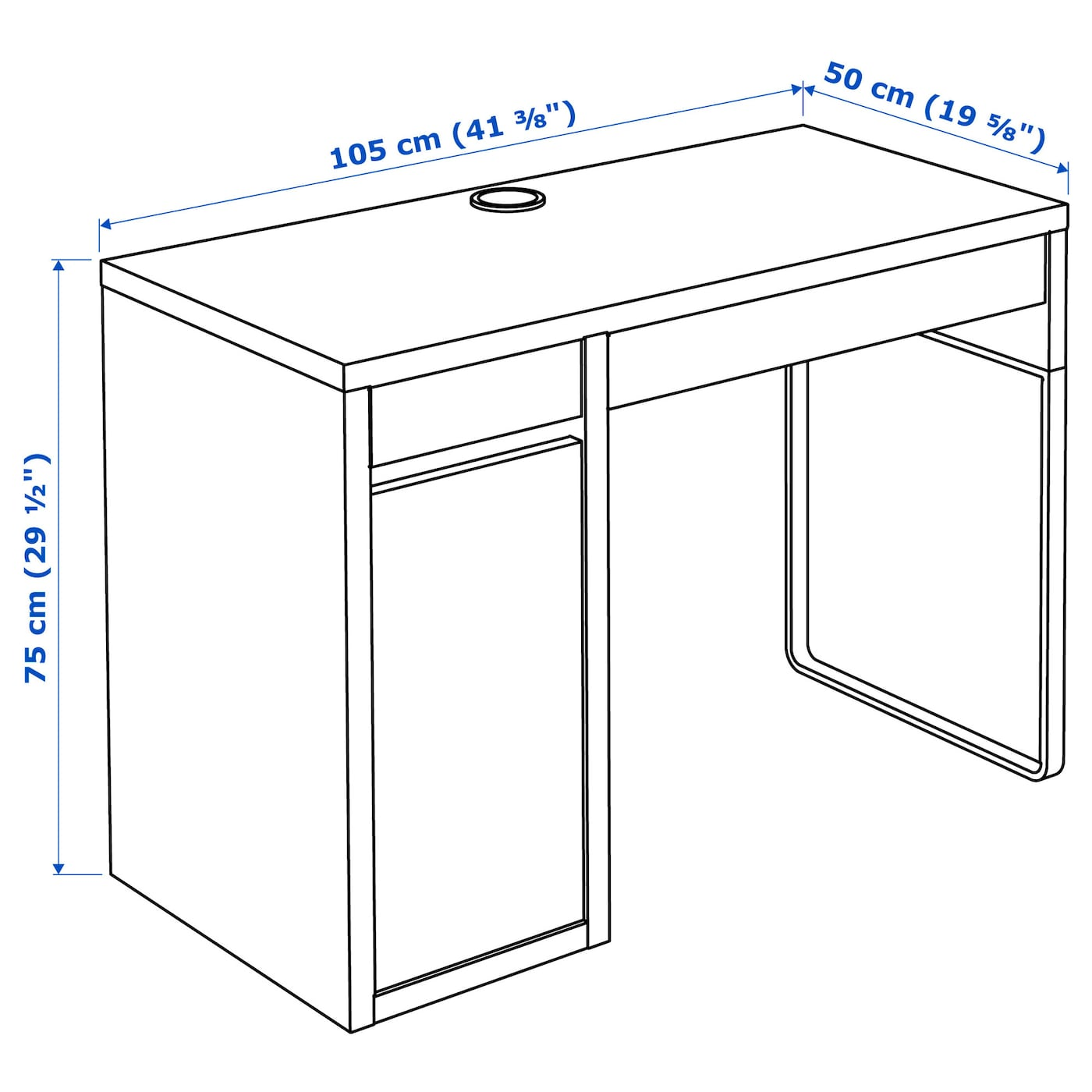 Computer Home Office White Oak Effect & Black/Brown 33x33cm IKEA