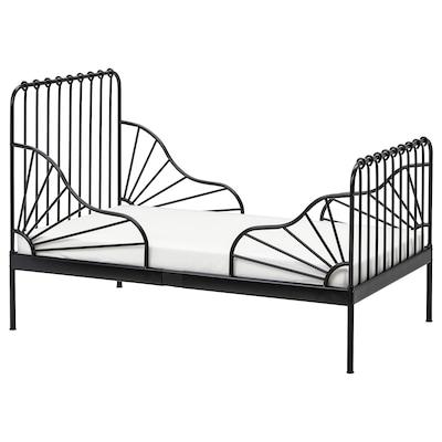 MINNEN ミンネン 伸長式ベッドフレームとすのこ(組み合わせ), ブラック, 80x200 cm