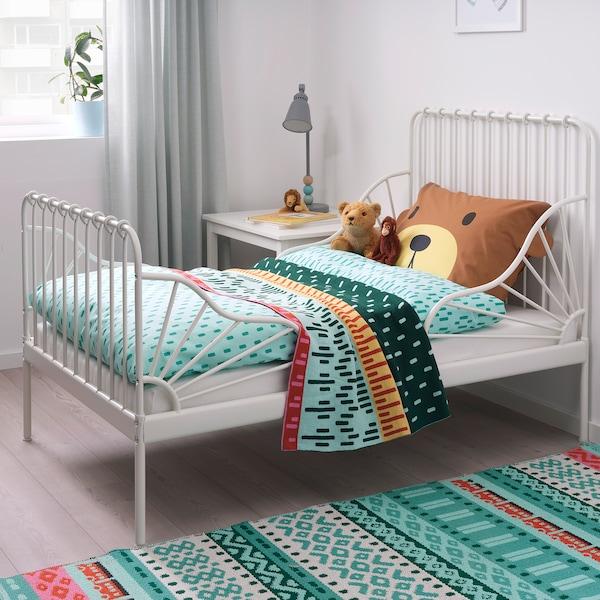 MINNEN ミンネン 伸長式ベッドフレームとすのこ(組み合わせ), ホワイト, 80x200 cm