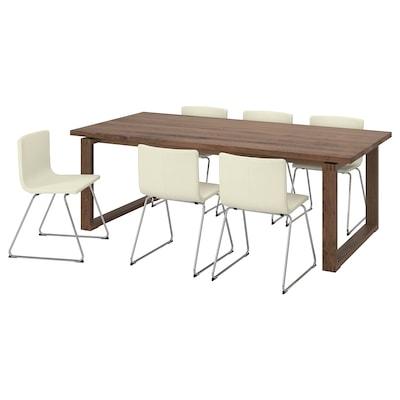 MÖRBYLÅNGA モールビロンガ / BERNHARD ベルナード テーブル&チェア6脚, ブラウン/カヴァト ホワイト, 220x100 cm