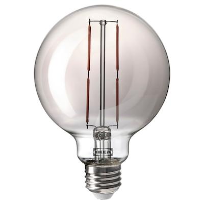 MOLNART モールナルト LED電球 E26 120ルーメン, 球形 グレークリアガラス, 95 mm