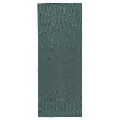 MORUM モールム ラグ 平織り、室内/屋外用, グレー/ターコイズ, 80x200 cm