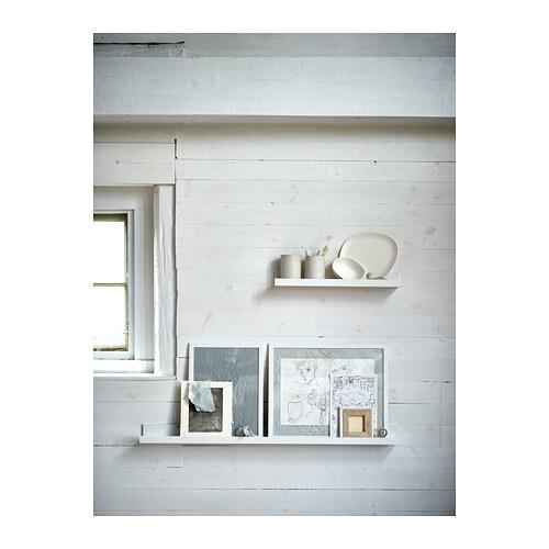 MOSSLANDA アート用飾り棚 IKEA 小さなフレームをちょうどよい角度で立てられるように溝があります アート用飾り棚なら、お気に入りのアートや写真をいつでも簡単に入れ替えたり並べ替えたりできます