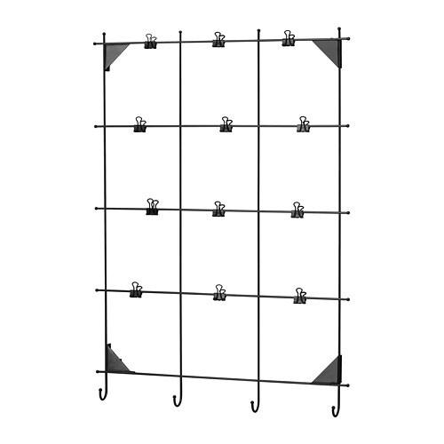 MYRHEDEN ミールヘーデン メモボード クリップ付き IKEA クリップ12個付き。フックにはカギなどの小物を掛けられます