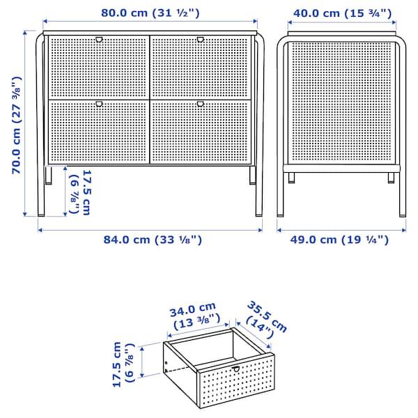 NIKKEBY ニッケビー チェスト(引き出し×4), グレーグリーン, 84x70 cm