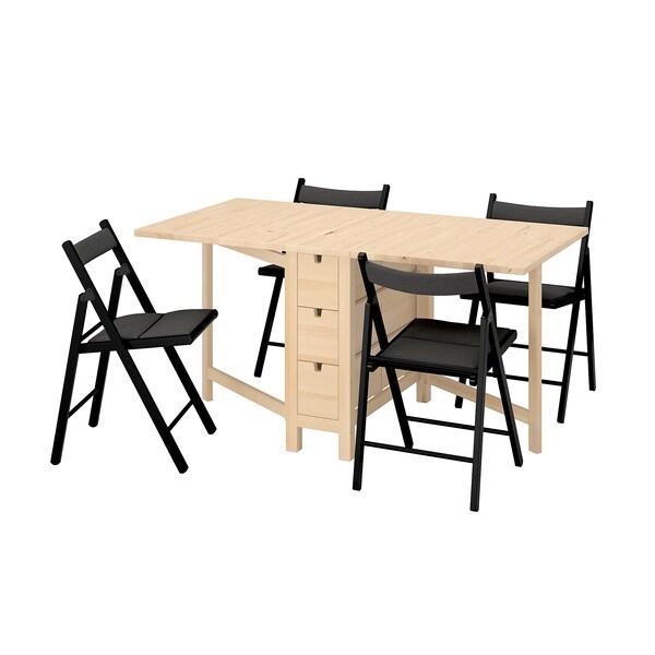 NORDEN ノールデン / TERJE テリエ テーブル&チェア4脚, 折りたたみ式 バーチ/クニーサ ブラック, 26/89/152 cm