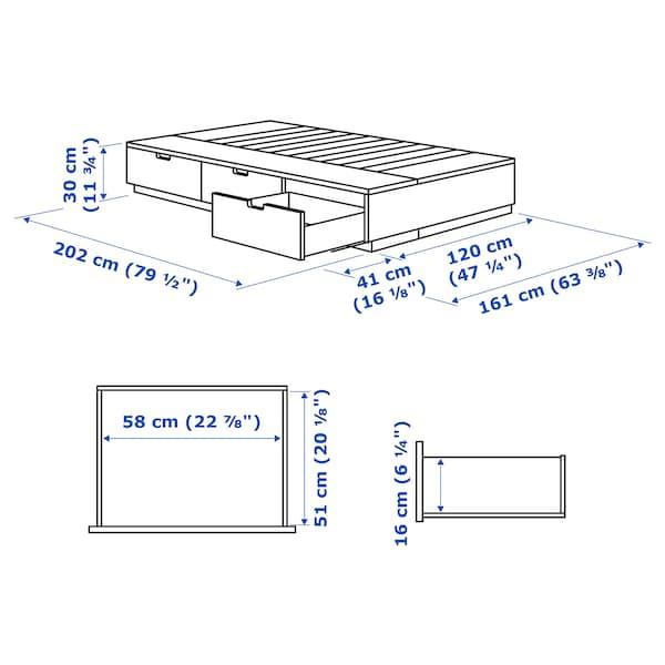 NORDLI ノールドリ ベッドフレーム 収納付き, ホワイト, 120x200 cm