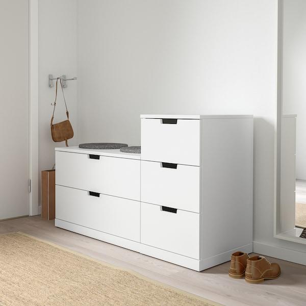 ノールドリ チェスト(引き出し×5) ホワイト 120 cm 47 cm 76 cm 37 cm