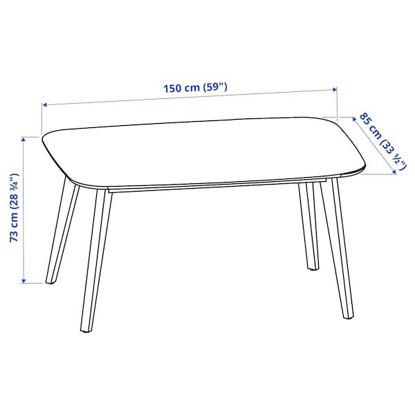 NORDMYRA ノールドミーラ テーブル, ホワイト/バーチ材突き板, 150x85 cm