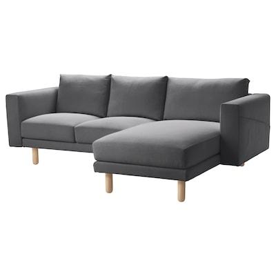 NORSBORG ノルスボリ 3人掛けソファ, 寝椅子付き/フィーンスタ ダークグレー/バーチ