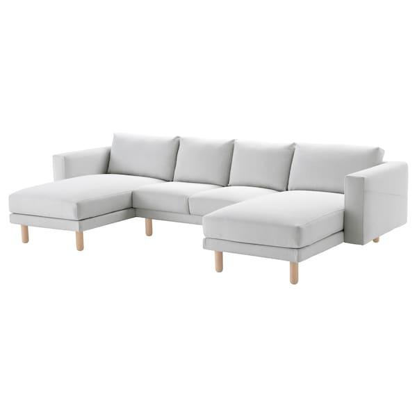 NORSBORG ノルスボリ 4人掛けソファ, 寝椅子付き/フィーンスタ ホワイト/バーチ