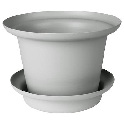 OMTÄNKSAM オムテンクサム 植木鉢 受け皿付き, ライトグレー, 14 cm