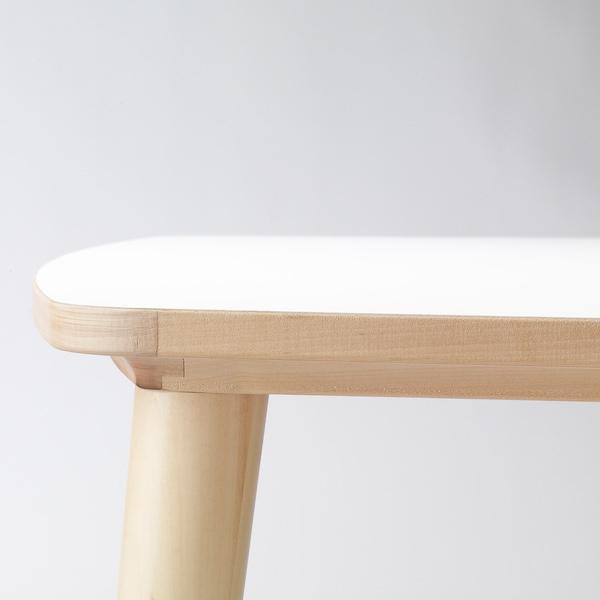 OMTÄNKSAM オムテンクサム テーブル, ホワイト/バーチ, 95x95 cm