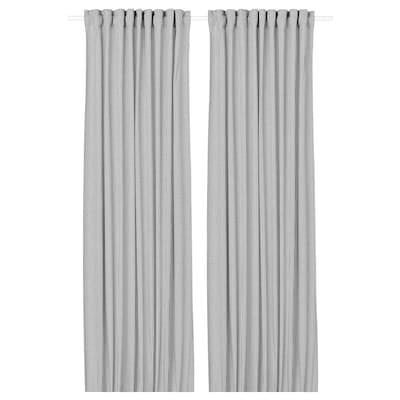 ORDENSFLY オールデンスフリ カーテン1組, ホワイト/ダークグレー, 145x250 cm