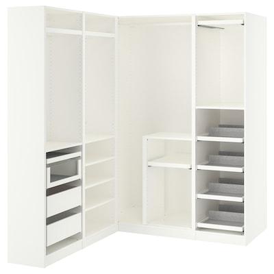 PAX パックス コーナーワードローブ, ホワイト, 160/163x201 cm