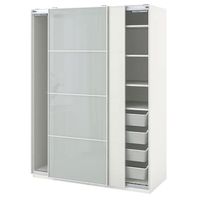 PAX パックス / MEHAMN/SEKKEN メーハムン/セッケン ワードローブコンビネーション, ホワイト/フロストガラス, 150x66x201 cm