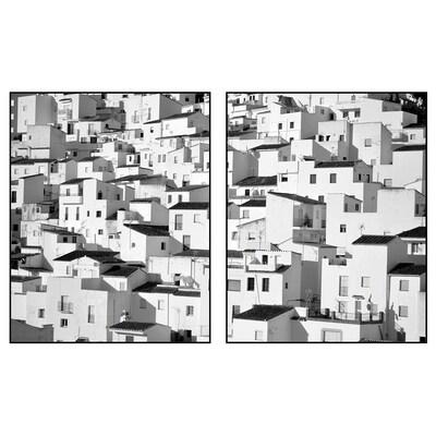 PJÄTTERYD プィエッテリード アート, 山腹の村, 40x50 cm