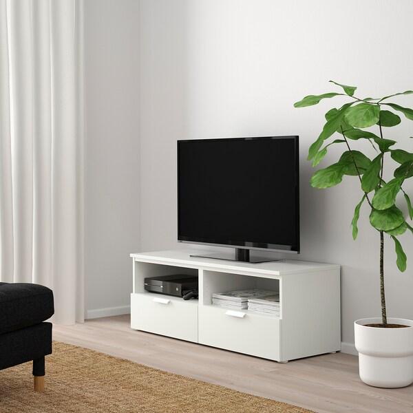 PLATSA プラッツァ テレビ台 引き出し付き, ホワイト/フォッネス ホワイト, 120x44x44 cm