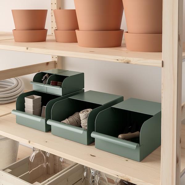 REJSA レーイサ ボックス, グレーグリーン/メタル, 17.5x25.0x12.5 cm