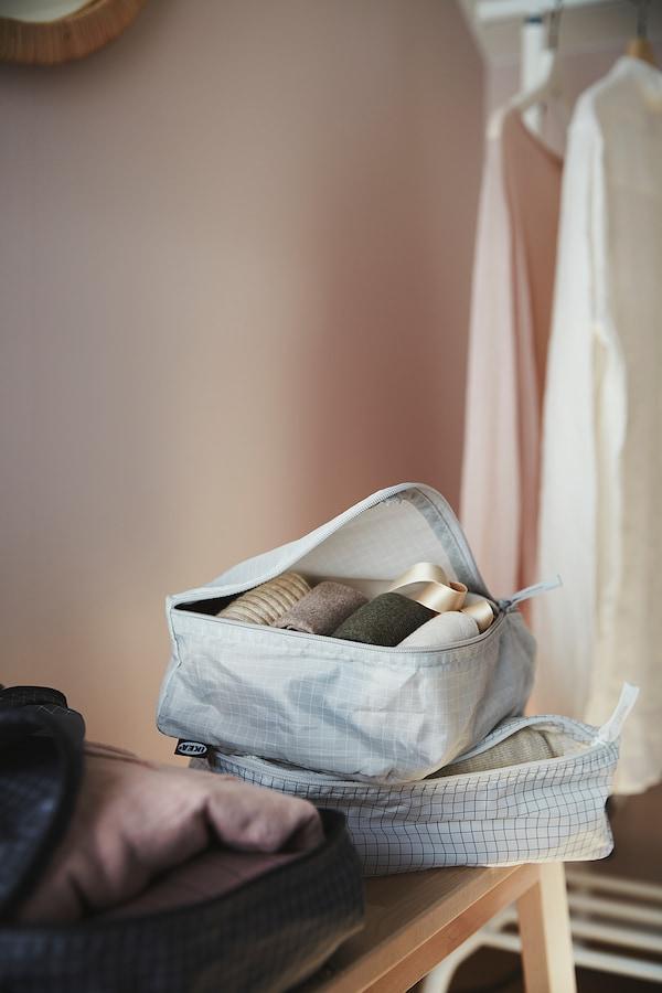 RENSARE レンサレ 衣類用バッグ 3点セット, チェック模様/グレー ブラック