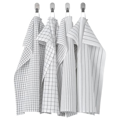 RINNIG リンニング キッチンクロス, ホワイト/ダークグレー/模様入り, 45x60 cm