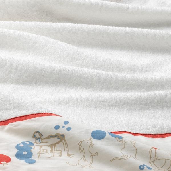 RÖDHAKE ロードハーケ ベビータオル フード付き, ウサギ/ブルーベリー 模様, 60x125 cm