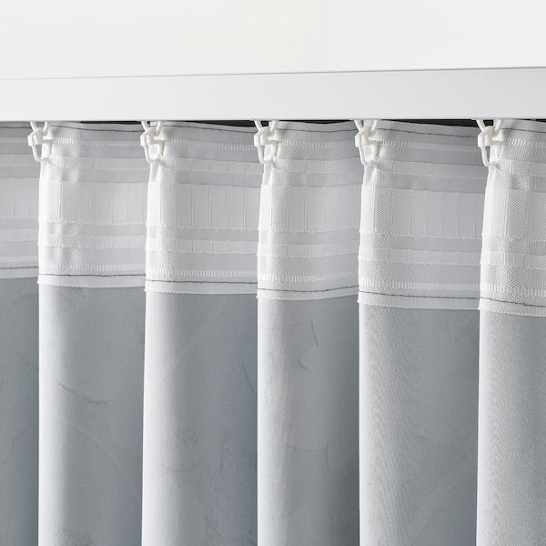 ROSENMOTT ローセンモット 遮光カーテン1組, ブラック/フローラルパターン, 145x250 cm