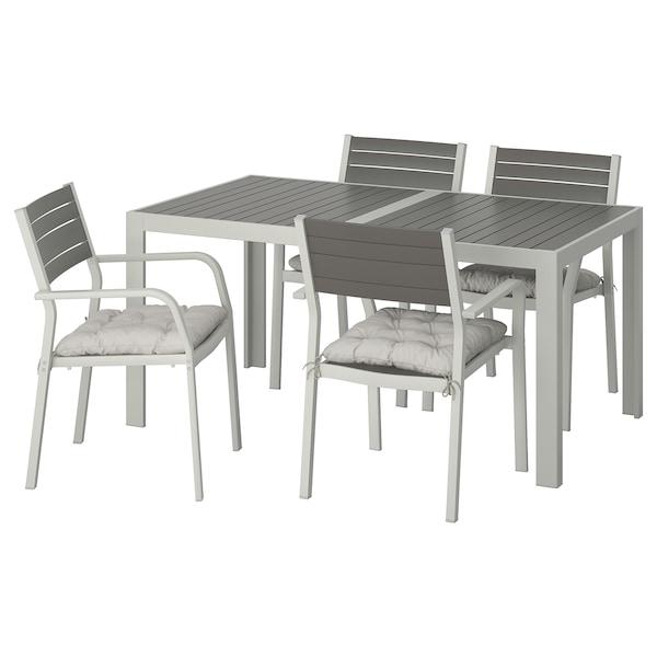 シェランド テーブル+チェア アームレスト付き4脚、屋外用 ダークグレー/クッダルナ グレー 156 cm 90 cm 73 cm