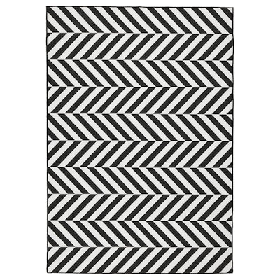 スカリルド ラグ 平織り、室内/屋外用, ホワイト/ブラック, 160x230 cm