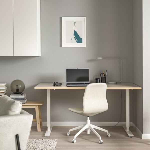 SKARSTA スカルスタ デスク 昇降式, ベージュ/ホワイト, 160x80 cm