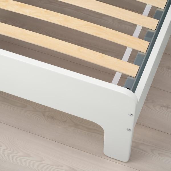 SLÄKT スレクト 伸長式ベッドフレームとすのこ(組み合わせ), ホワイト/バーチ, 80x200 cm