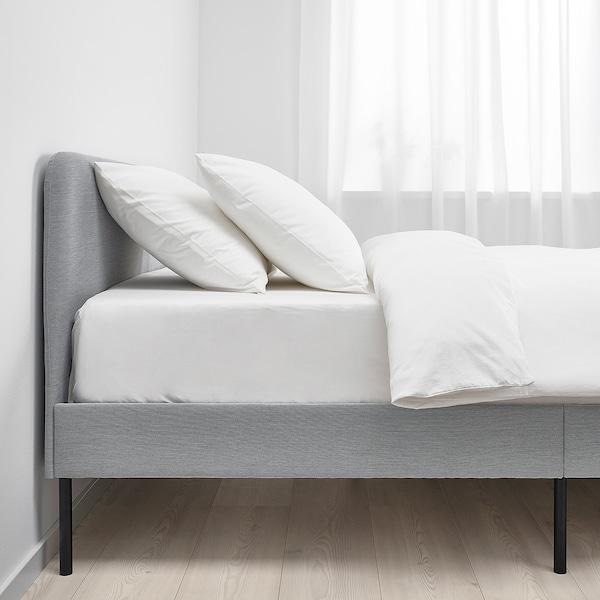 SLATTUM スラットゥム 布張りベッドフレーム, クニーサ ライトグレー, 90x200 cm