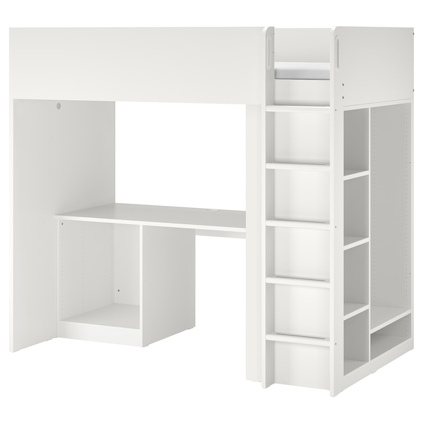 SMÅSTAD スモースタード ロフトベッドフレーム デスク&収納付き, ホワイト, 90x200 cm