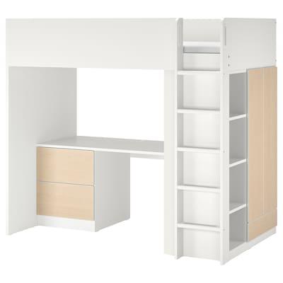 SMÅSTAD スモースタード ロフトベッド, ホワイト バーチ/デスク付き 引き出し3段付き, 90x200 cm
