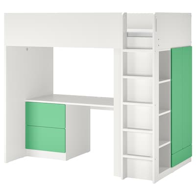 SMÅSTAD スモースタード ロフトベッド, ホワイト グリーン/デスク付き 引き出し3段付き, 90x200 cm