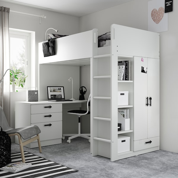 SMÅSTAD スモースタード ロフトベッド, ホワイト ホワイト/デスク付き 引き出し4段付き, 90x200 cm