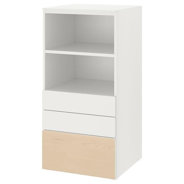 SMÅSTAD スモースタード / PLATSA プラッツァ 本棚, ホワイト バーチ/引き出し3段付き, 60x57x123 cm