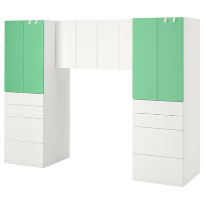 SMÅSTAD スモースタード 収納コンビネーション, ホワイト/グリーン, 240x57x181 cm